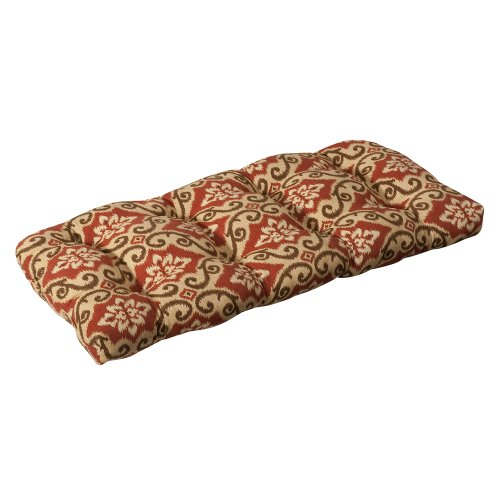 Pillow Perfect Indoor/Outdoor Red/Tan Damask Wicker Loveseat Cushion (Furniture Store Brick Hours)