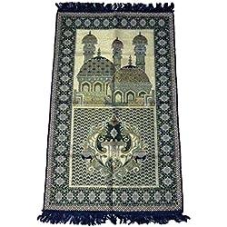 HDI Muslim Prayer Mat Lightweight Thin Istanbul Turkey Sajadah Carpet Islam Eid Ramadan Gift (Blue02)