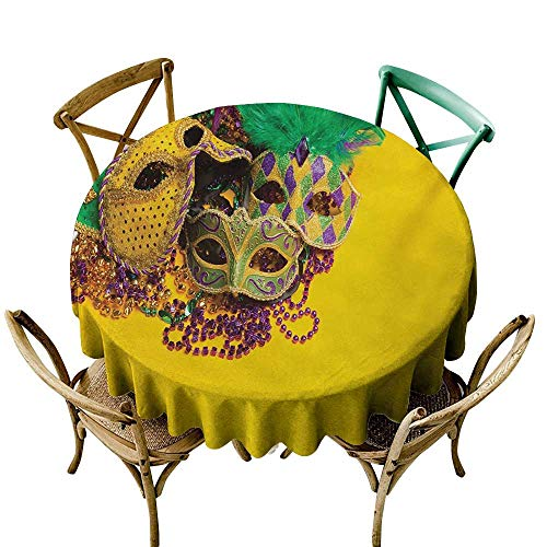 crabee Round Tablecloth Mardi Gras,Festive and Colorful Group of Venetian Carnival Masks and Accessories,Yellow Purple Green D36,for Party ()