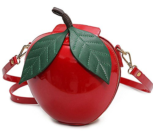 Red Apple Purse - Apple Shape PU Leather Zipper Handbag Shoulder Bags Purse with Sachet - Red / Green