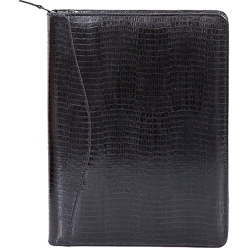 Scully Lizard Embossed Leather Zip Around Letter Pad (Lizard Black) by Scully