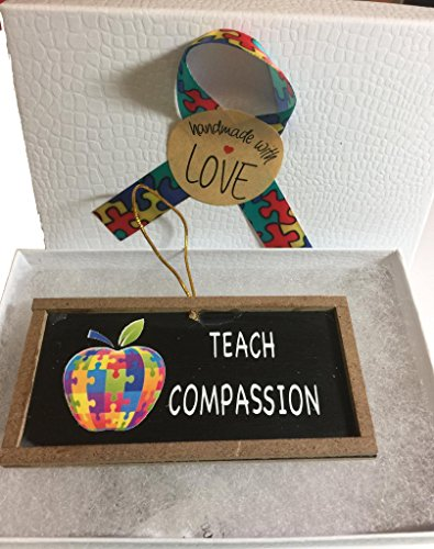 Teach Compassion Autism Teacher Gift Ornament with Puzzle Piece Apple -