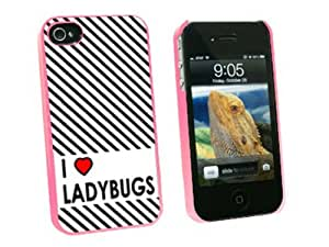 I Love Heart Ladybugs - Snap On Hard Protective Case for Apple iPhone 4 4S - Pink