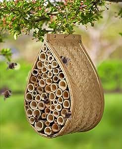 Mason Bee House bambú metal DM aberturas de varios tamaños