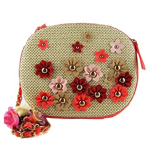 De Rosado Pequena Multicolor Tejer Flor Ovales Bolsos Hombro Los Paja Mujeres Mini Crossbody w87q5UHU