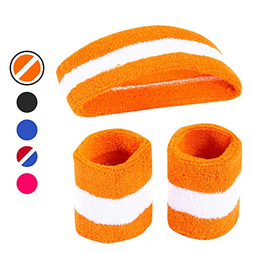 AFLGO Sweatband Set for Sports, Training & Exercise | 1 Headband & 2 Wristbands Cotton to Pair with Your Athletic Costume Apparel | Comfy & Durable Sport Accessories for Men Woman (Orange/White)