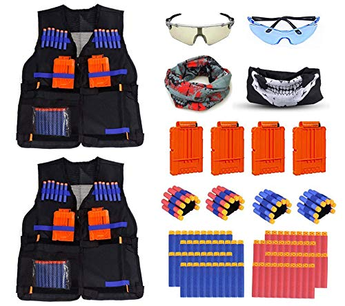 2 Pack Mega Set Kids Tactical Jacket Vest Kit for Nerf N-Strike Gun Wars, 80 x Refill Darts, 4 x Wrist Bands, 4 x Quick Reload Clip, 2 x Face Mask, 2 x Protective Glasses