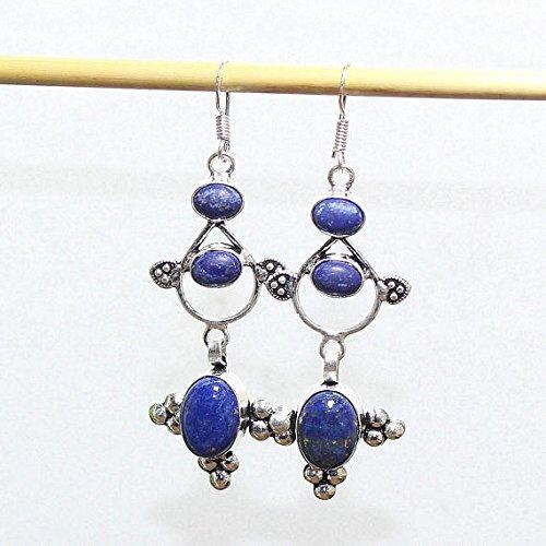- Lapis Lazuli Earring Oval Shape Silver Overlay Fashion Jewellery Vintage Designer Statement Prom Bridal Jewelry Dangle Bohemian 2.80 Inches.