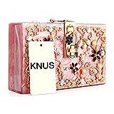 Women Acrylic Bags Pearl Beaded Clutches Purses Flower Wedding Evening Handbag (Hot pink)