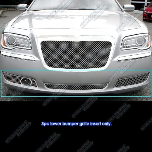 APS Compatible with 2011-2014 300 300C with Adaptive Cruise Lower Bumper Stainless Steel Chrome Mesh Grille Insert R71168S