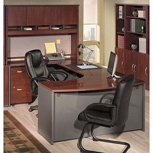 Bush Furniture Hansen Cherry Corsa Series U-Shaped Office Set with Hutch (Right Desk U-shaped Corner)