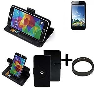 TOP SET: 360° Funda Smartphone para Kazam Thunder 2 5.0, negro + anillo protector | Función de stand Caso Monedero BookStyle mejor precio, mejor funcionamiento - K-S-Trade