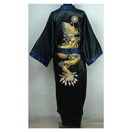 b3d84f465a FidgetGear Double-Face Chinese Silk Men s Kimono Robe Gown Bathrobe Dress  Pajamas Sleepwear Black +
