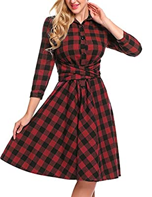 Burlady Women's Casual 3/4 Sleeve Plaid Belted A-Line Pleated Shirt Dress
