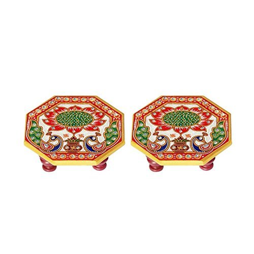 HANDICRAFTS PARADISE Marble Ocatagonal Puja Chowki Pair Painted with Peacock Design