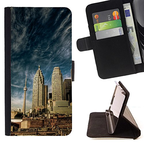 BOOK CASE - FOR Sony Xperia M5 - Canada Sky - Folio PU Wallert Leather - M Kors Canada