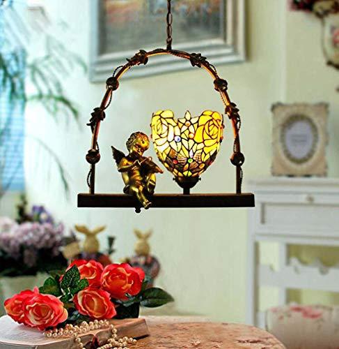 1-Light Mini Tiffany Style Pendant Light, Stained Glass Rose Pattern Angel Chandelier Shade Single Head Metal Lamp Body for Aisle Corridor Church, E27 ()