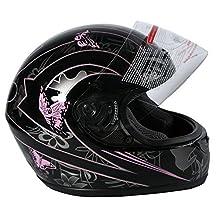 Tengchang DOT Adult Pink Butterfly Full Face Motorcycle Helmet XXL