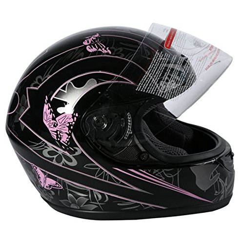 TCMT Adult Pink Butterfly Full Face Motorcycle Helmet DOT S
