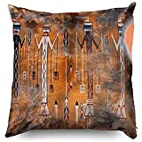 60JimNic Throw Pillow Case 16 x 16,Native American Indian and Cowhide Print Lumbar Throw Pillow Cover Decorative for Home Sofa Bedding