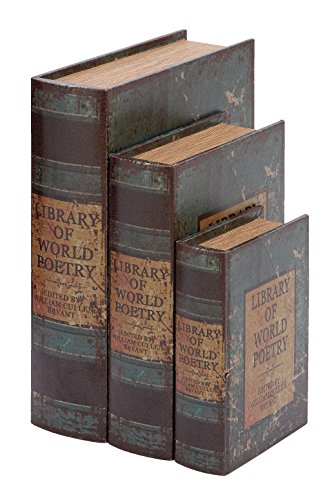 Deco 79 Faux Book Box Set with Library of World Poetry Theme