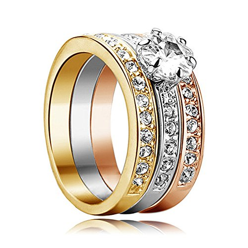 Yoursfs 3Pcs Halo Rings 18k Gold(Yellow White Rose) Plated Pave Mirco Austrian Crystal Trinity Rhinestone Wedding Band Ring Size 6