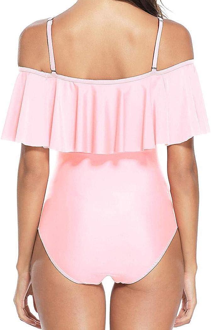 Creine Women Bikini One-Piece Swimwear Adjustable Straps Solid Ruffle Swimsuit Light Pink