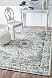 Cheap Traditional Persian Vintage Fancy Grey Area Rugs, 4 Feet by 6 Feet (4′ x 6′)