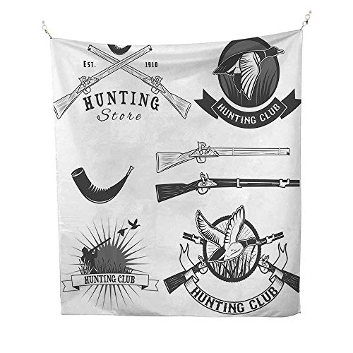 Anshesix Hunting Wall Tapestry Hunting Store and Club Labels Duck Goose Mallard Reed Bed Hobby Image Colorful Tapestry 57W x 74L INCHCharcoal Grey White ()