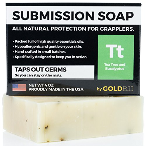 Premium Tea Tree Oil Soap - 100% All Natural USA Made Bars for BJJ, Jiu Jitsu, Wrestling, and Grappling - Combats Ringworm, Jock Itch, Athletes Foot, Acne, and more