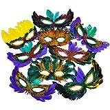 Rhode Island Novelty Mardi Gras Feather Masks 50 Piece Assortment