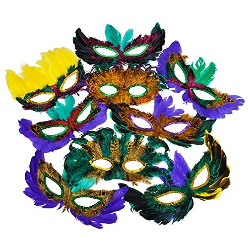Rhode Island Novelty Mardi Gras Feather Masks | 50 Piece Assortment -