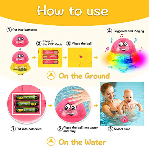 Baby Bath Toys, Mini Water Spray Bath Toy for Toddler Kids, Electric Induction Sprinkler Toys with Soft LED Lights for Baby Bath (Red with Base)