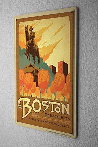 Tin Sign Deco City Boston Massachusetts tulips George Washington Statue (Tulip Statue)