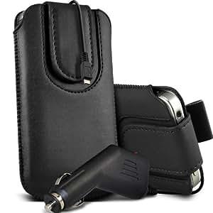 Nokia Lumia 800 premium protección PU botón magnético ficha de extracción Slip espinal en bolsa de la cubierta de piel de bolsillo rápido con 12v USB Micro en Car Charger Negro por Spyrox