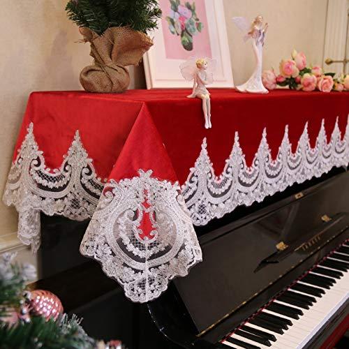 Mountain head 新しいヨーロッパのピアノカバーレース刺繍ピアノカバータオルレッドピアノダストカバー布シングルダブルピアノスツールカバー Mountain head (Size : Double stool) Double stool  B07QQMJQ7H