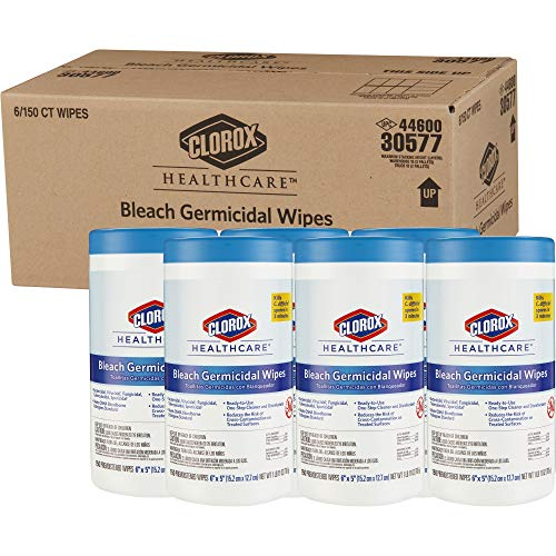 (Clorox Healthcare Bleach Germicidal Wipes, 150 Count Canister - Pack of 6 (30577))