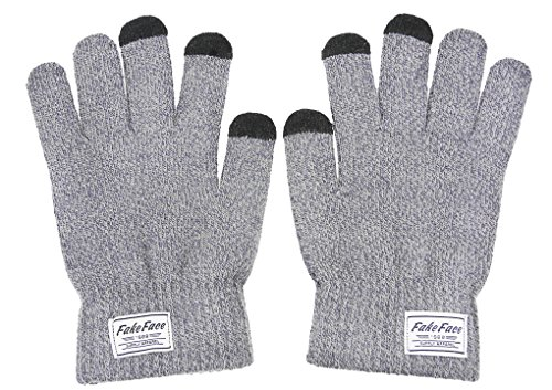 Fakeface Touchscreen Texting Gloves, Mens Warm Wool Knit Winter Gloves, Cold Weather Mittens Outdoor Sports Touch Screen Gloves Skiing, Cycling, Moutaineering, Xmas Gift (Grey)