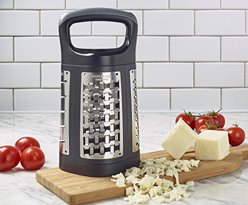 Sabatier West Blade 4-Sided Stainless Steel Box Grater with Patented Grating Technology, 11.5-Inch, Black