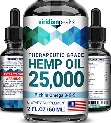 - Hemp Oil for Anxiety Relief - 25000MG - Extra Potency & Efficiency - 100% Natural Hemp Oil - Made in USA - De-Stress & Anti Inflammatory - Deep Sleep - Ideal Omega 3, 6 & 9 Balance
