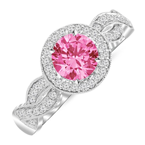 1.3 Carat 14K White Gold Twisting Eternity Halo Style with Milgrain Diamond Engagement Ring with a 1 Carat Natural Pink Sapphire Center (Heirloom Quality)