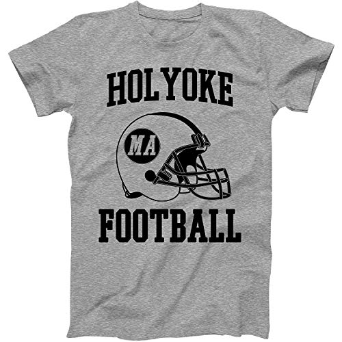 Vintage Football City Holyoke Shirt for State Massachusetts with MA on Retro Helmet Style Grey Size Medium
