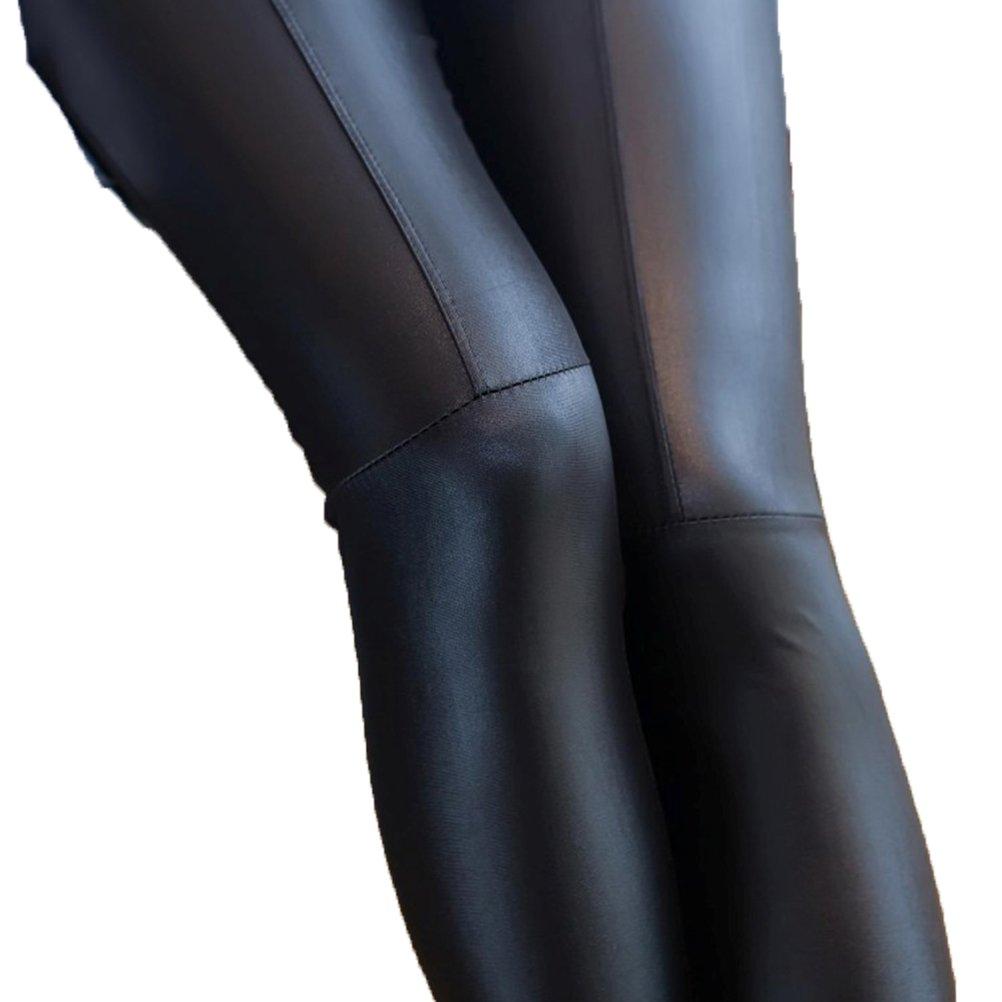 OULII Women Winter Warm Faux leather Leggings Seamless Stretchy Skinny Pants - Large (Black) 4K113617FZYY