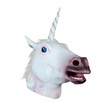 JRing Unicorn Head Mask Caballo de Látex Para Traje Fancy Dress Party Halloween, Espeluznante Adult Unicorn Cabeza de Látex de Caucho Máscara ...