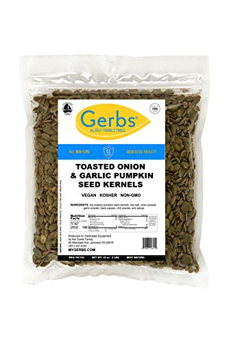 Toasted Onion & Garlic Pumpkin Seed Kernels, 2 LBS by Gerbs - Top 14 Food Allergy Free & NON GMO - Vegan & Kosher - Dry Roasted Seasoned Premium Quality Seeds Grown in Mexico (Flavored Pumpkin Seeds)