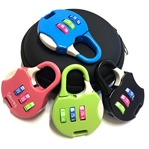 Rarelock Padlock 3 Digit Your Own Combination Lock Set, Metal, for School, Gym or Sports Bags, Case, Jewelry Box, Fence, Cabinet & Storage, Assorted Colors,Pack of 4 (Travel & Sport)