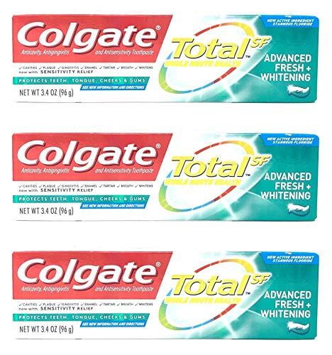 (Colgate Total Whitening Toothpaste, Advanced Fresh + Whitening Gel, 3.4 oz (Pack of 3) )