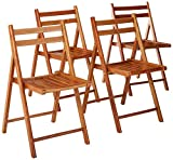 Dark Brown Wooden Folding Chairs Winsome Wood 33415 Robin 4-PC Folding Set Teak Chair,