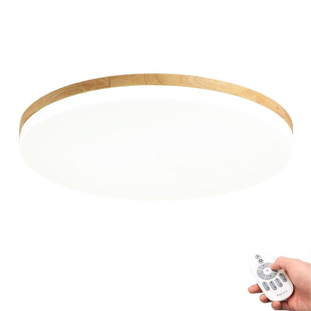 KAIRRY Deckenlampe Ultra-dünne Deckenleuchte Modern Einfachheit Runder LED Stärke 5 cm Holz Deckenleuchte Einfache Japanische Art Tatami Raumleuchte (Farbe   Stepless dimming, Größe   38CM)