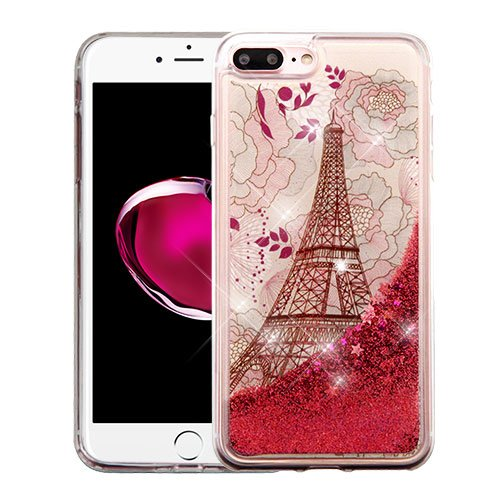 (Wydan Case for iPhone 8 Plus, iPhone 7 Plus - Slim Hybrid Liquid Bling Glitter Sparkle Quicksand Waterfall Shockproof TPU Phone Cover - Eiffel Tower - Rose Gold Stars for Apple)
